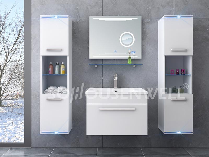 HS-E1901 Wand-Badezimmereitelkeiten Kupferfreie LED-Spiegelschrank Badezimmermöbel