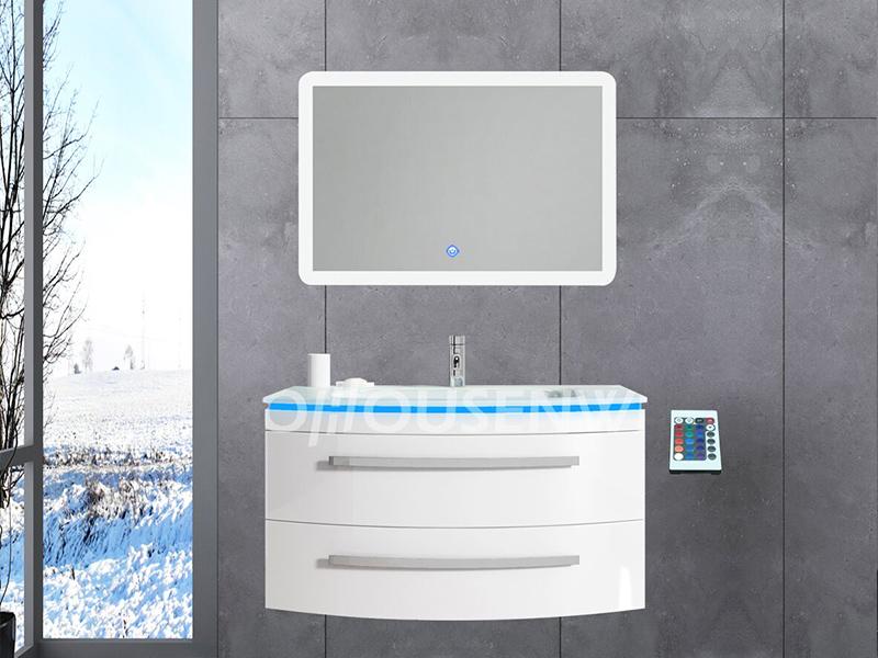 HS-E1937 Kunststoff PVC Badschrank Europa hoch Badschrank weiß Hochglanz