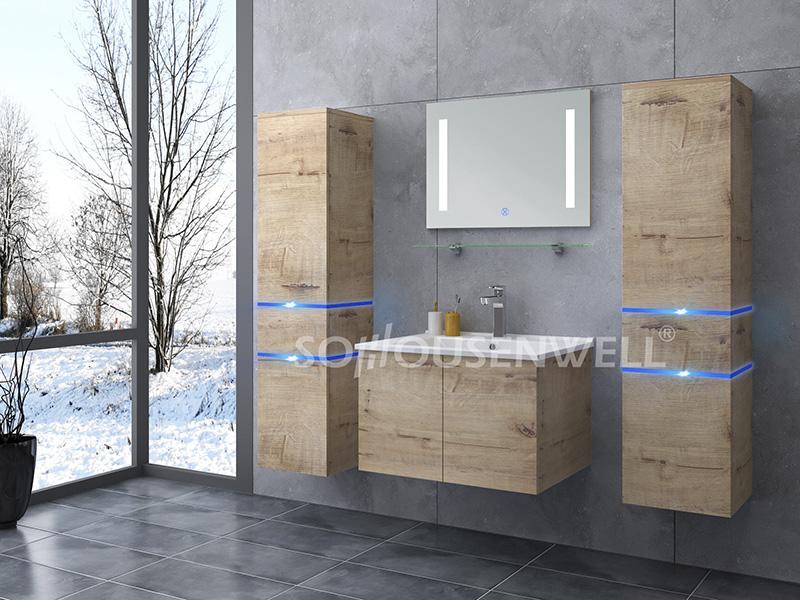HS-E1904 Wohnmöbel Badmöbel mit LED-Spiegel Holz Badschrank
