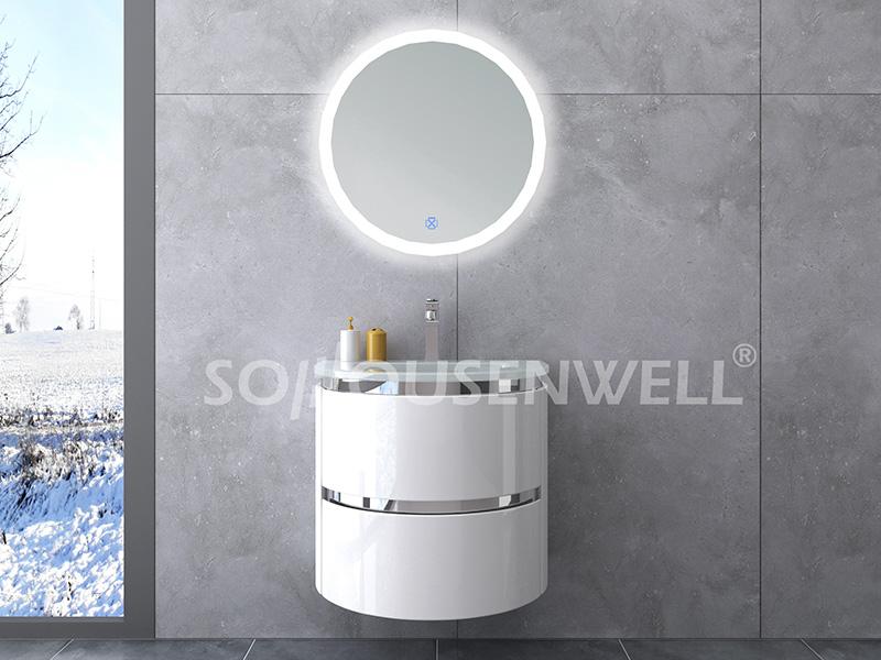 HS-E1931 Hot Sale Badmöbel Luxus PVC Badschrank mit Waschbecken und Spiegel