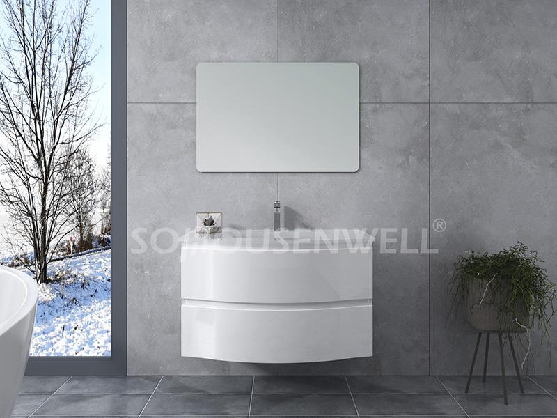 HS-E1969 Badezimmer Wandschränke Spiegel weiß Kunststoff Kunststoff Waschtisch gebogen