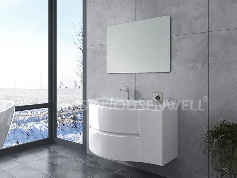 HS-E1970 Badezimmer Wandschränke Spiegel weiß Kunststoff Kunststoff Waschtisch gebogen