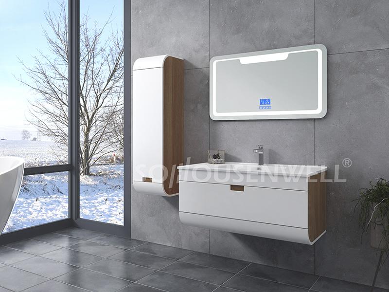 HS-E1977 Weißer Badezimmerspiegel mit Schrank