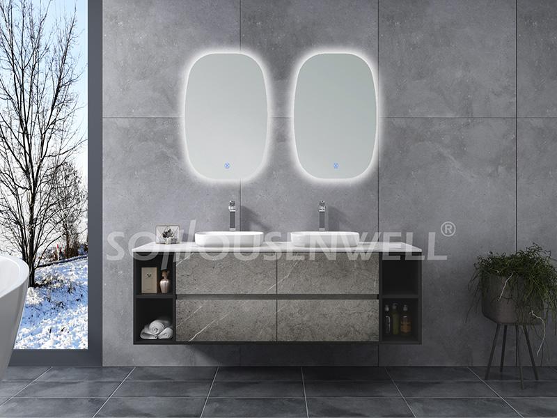 HS-E1982 Badezimmerschrank Badezimmerschrank mit Doppelwaschbecken