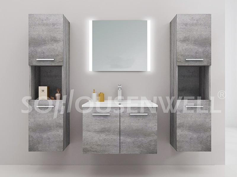 HS-E1984 Badezimmerschrank Set Holz hängen Doppel Badezimmerschrank und Spiegel