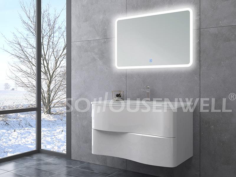 HS-E1999 Bad-Waschtischunterschränke im neuen Design Luxus-PVC-Badschrank mit Waschbecken