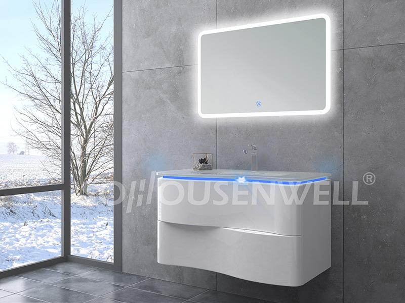 HS-E2000 Wasserdichter Badezimmerschrank LED gebogenes Badezimmerschrank-Möbelset