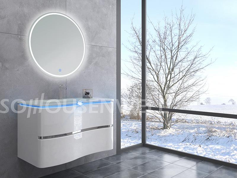 HS-E2001 Bad Kosmetikspiegel mit Leuchten mit Schrank Luxus Badschrank