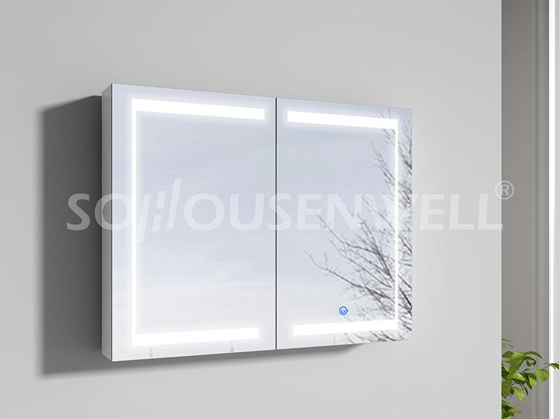 Lun-900 Bestseller weißer Badezimmerschrank mit LED-Spiegelleuchte für zu Hause