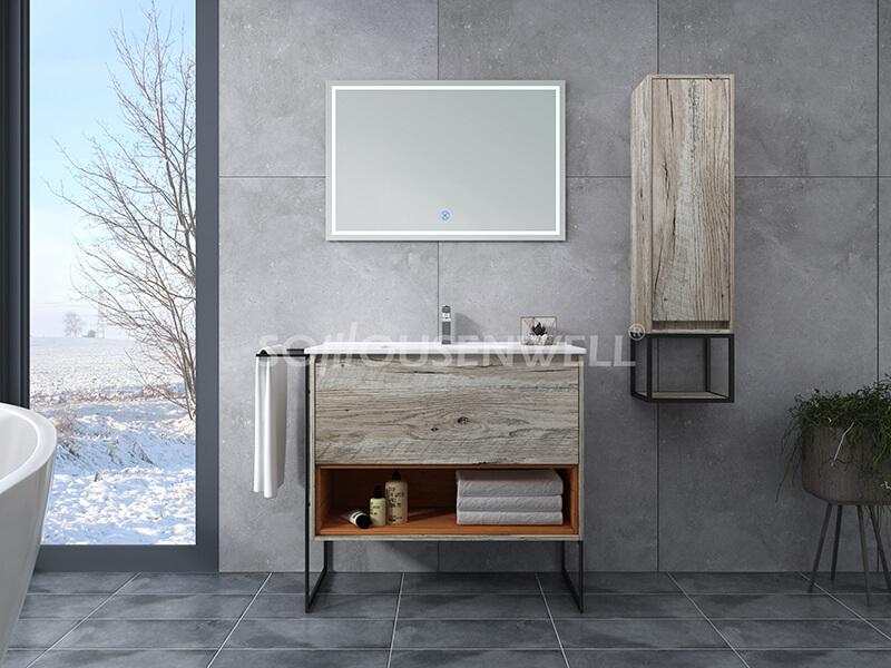 Y14-900 Luxus-LED-Option für wasserdichten Badezimmerspiegelschrank aus Holz