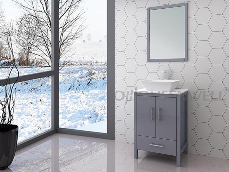 Y19-600 Badezimmermöbel Waschtisch Holzbeine Oberwanne Keramik Arbeitsplatte