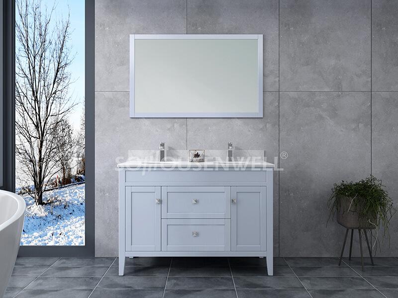 Sam-1200SD Badezimmerschrank Massivholz Eitelkeit Badezimmer Eitelkeit Toiletten Möbel